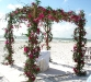 chuppah of curly willow grapevine and hot pink roses