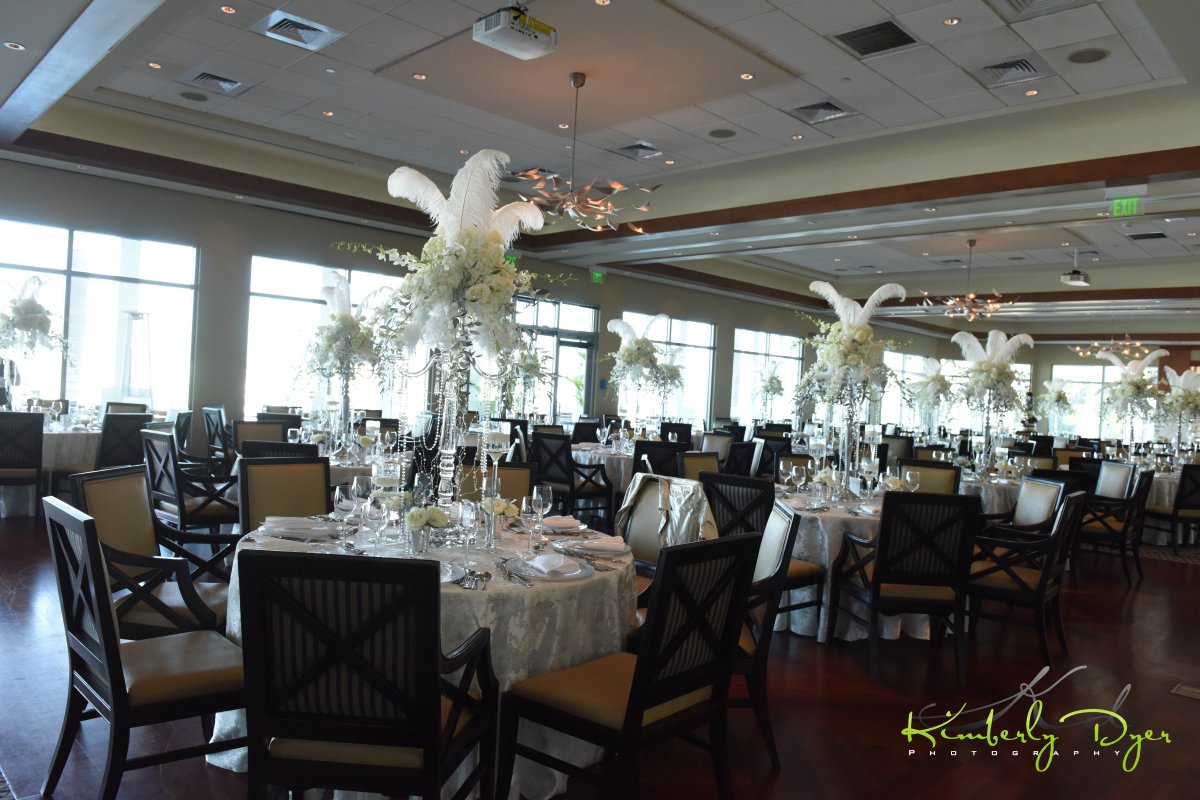 Club View with Elevated Centerpieces of Roses and Feathers, Great Gatsby Theme