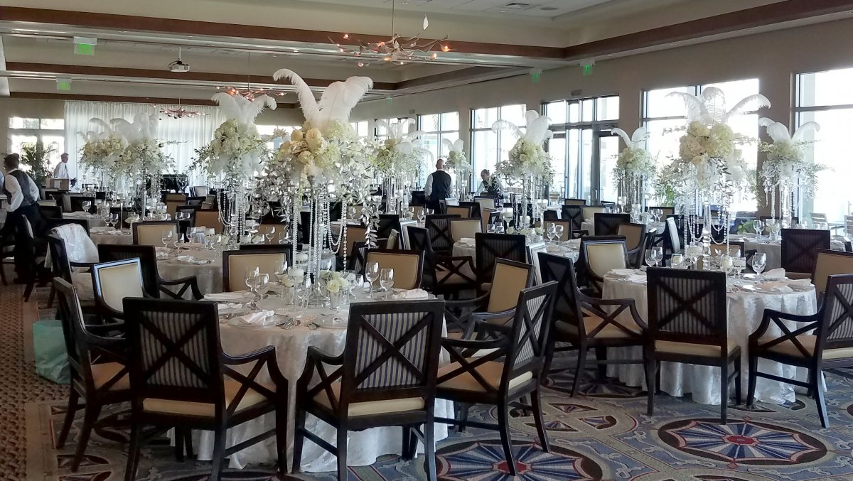 Great Gatsby Theme Party with Orchids, Ostrich Feathers, Pearls