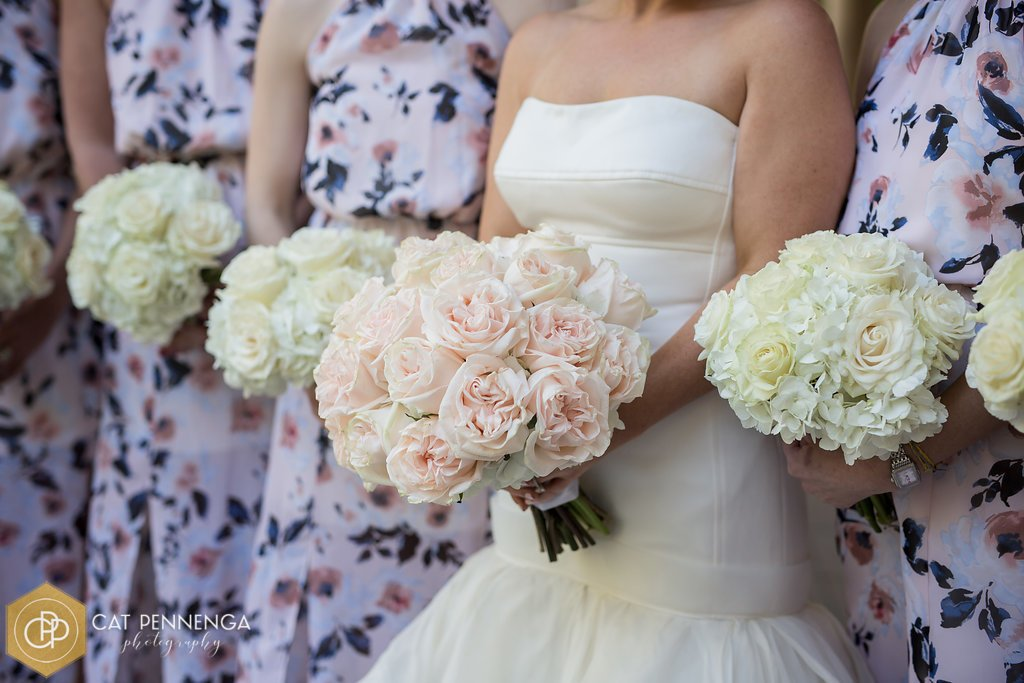 Bridesmaids' and Bride's Bouquet with Mondial Roses, Wedding Spirit Roses, and Hydrangea