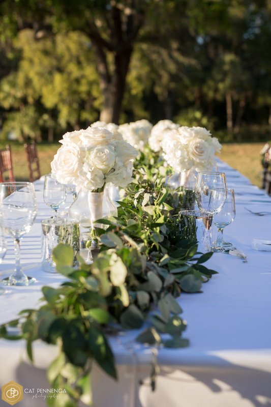 Head Table with Garland of Silver Dollar and Ruscus