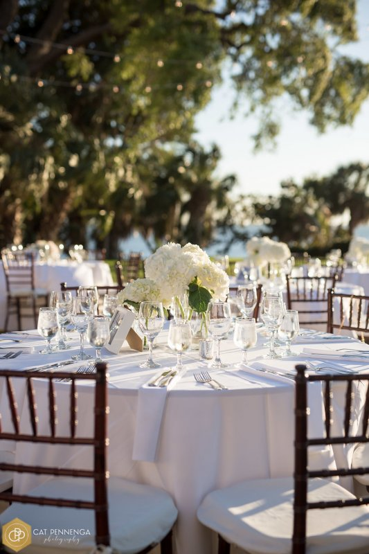 Guest Tables with 3 Cylinders of All White Hydrangeas