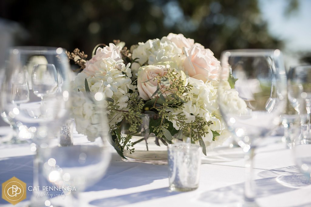 Table Centerpiece Bowl with White Hydrangea and Wedding Whisper Garden Roses and Seeded Eucalyptus