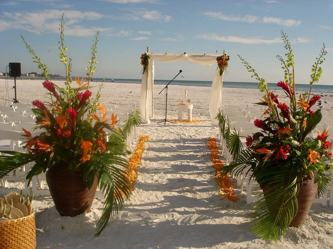 siesta key wedding: beautiful tropical theme | sarasota wedding