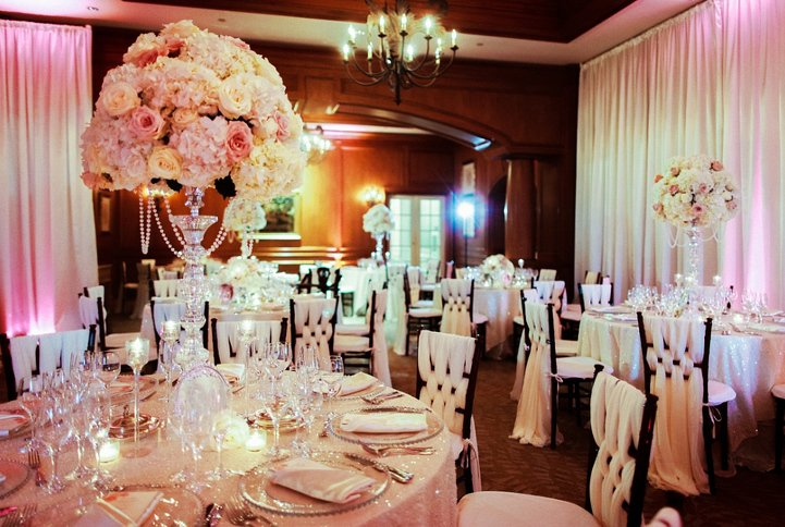Ca'd Zan room with High and Low Reception Table Centerpieces