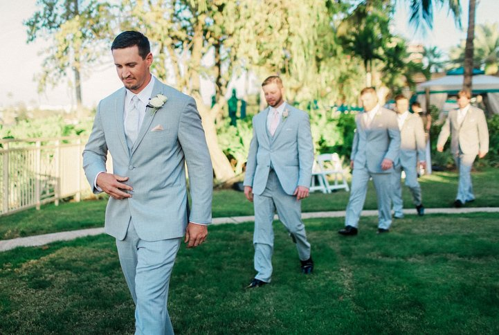 Groom and Groomsmen With Double Spray Rose Boutonniere