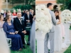 Bride and Groom Framed with Floral Arrangments