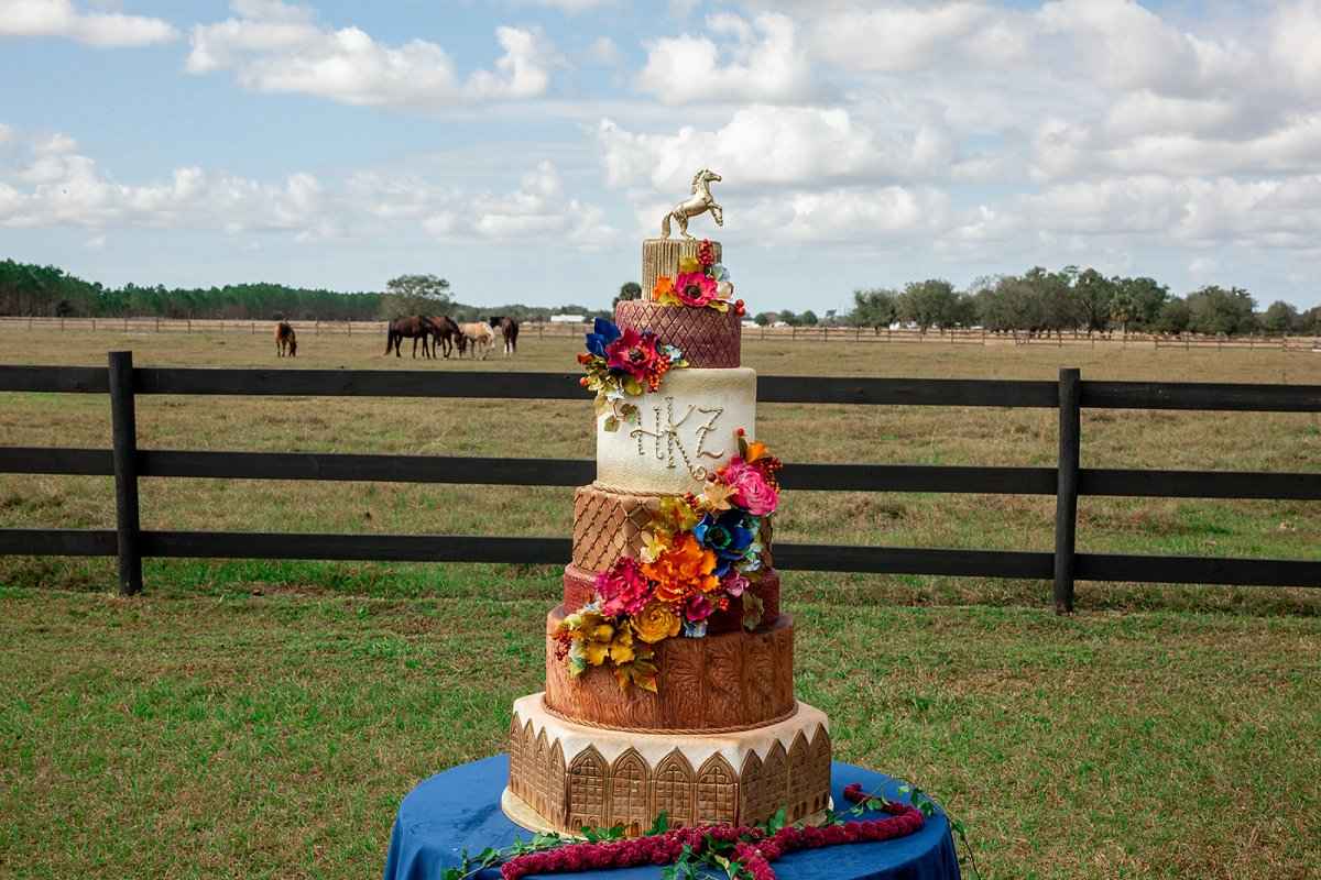 Equestrian Themed Wedding Cake