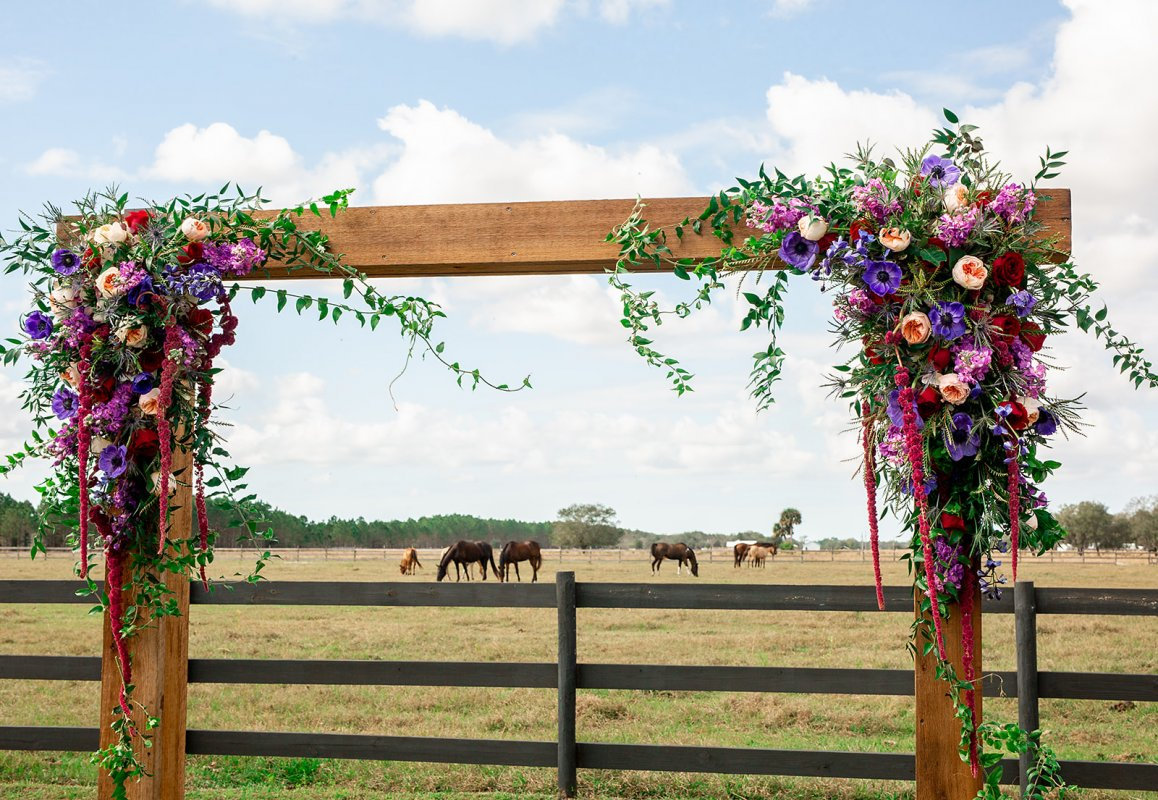 Natural Cedar Wedding Arch with Flowers