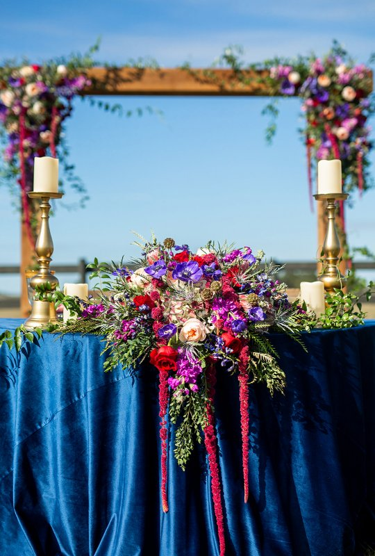 Sweetheart Table with Re-purposed Bridal Bouquet