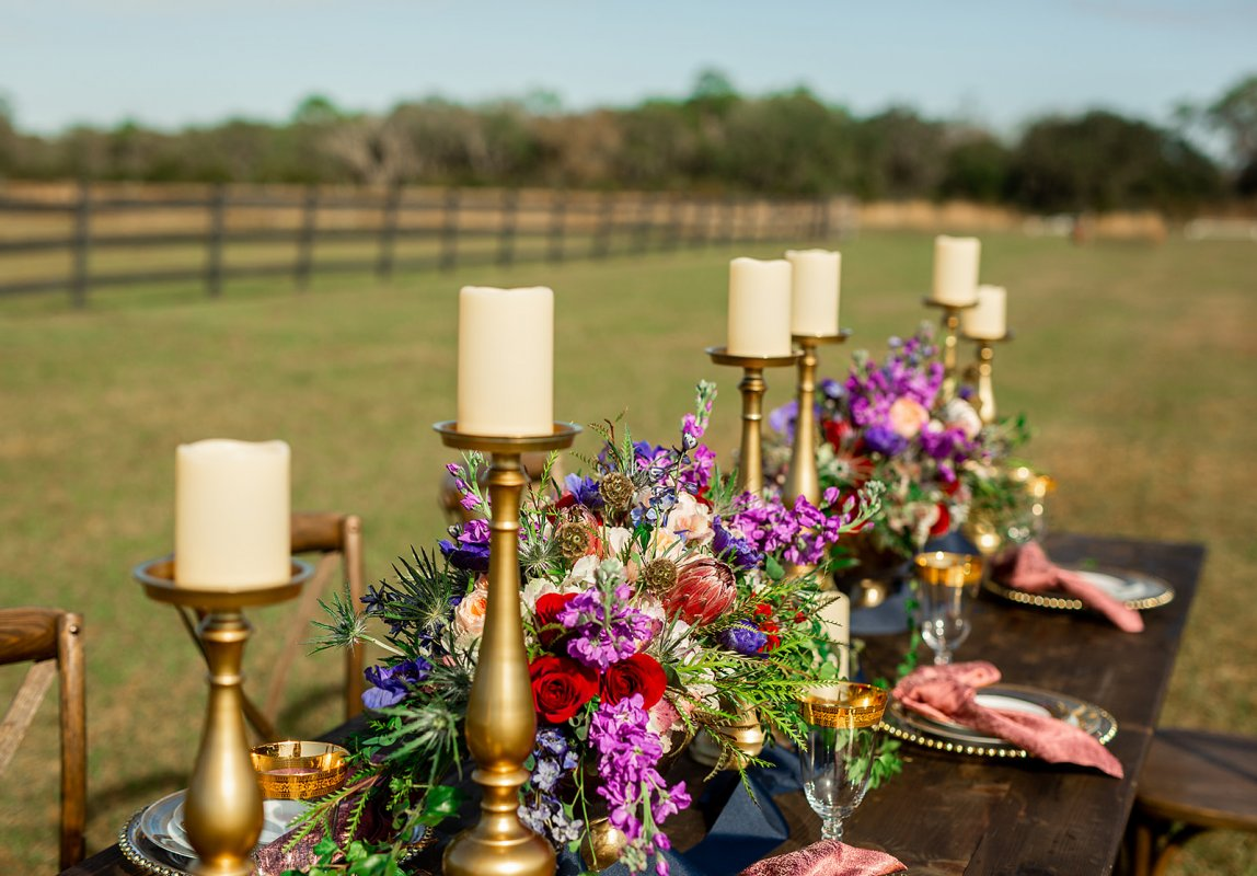 Floral Guest Table Centerpiece with Candles