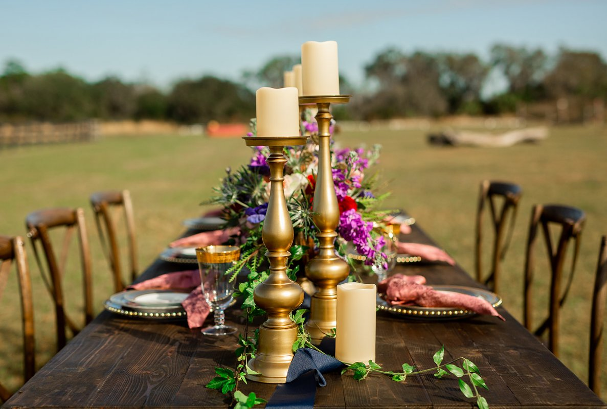 Tall Gold Candles on Guest Table