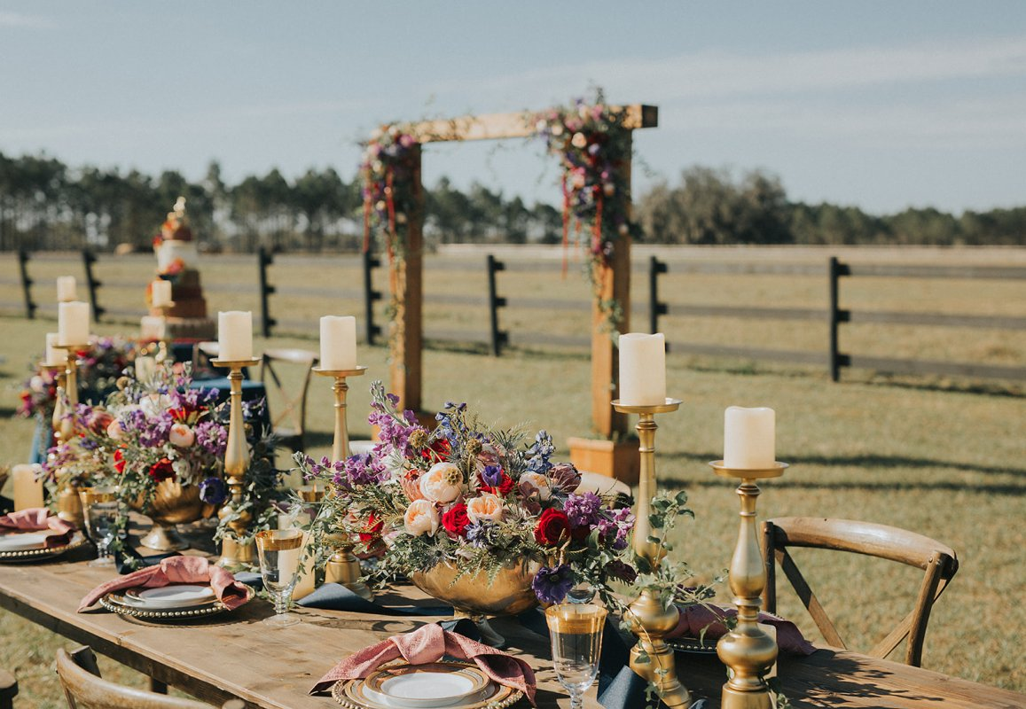 Guest Table with Cedar Arch in Background