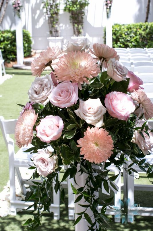 Back of Aisle Flowers for Ceremony Also for Reception