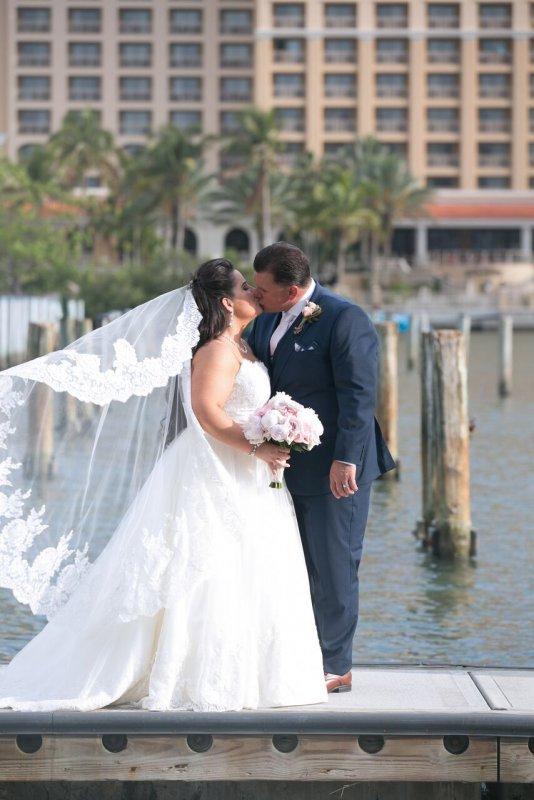 Bride and Groom on Dock at Sarasota Hyatt Regency