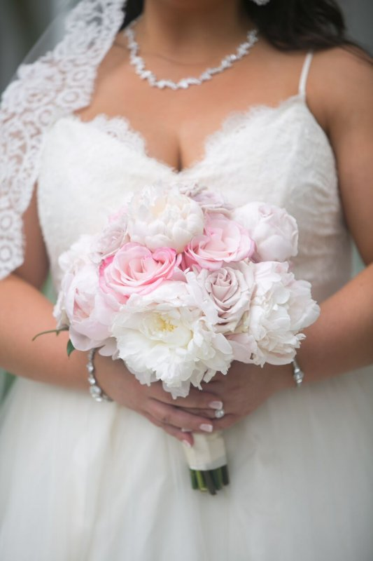 Close up of Bridal Bouquet Peonies and Roses