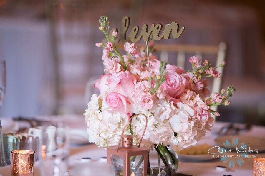 Table Centerpiece with hydrangea and stock roses