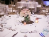 Guest Table Centerpieces in glass with hydrangea and spray roses