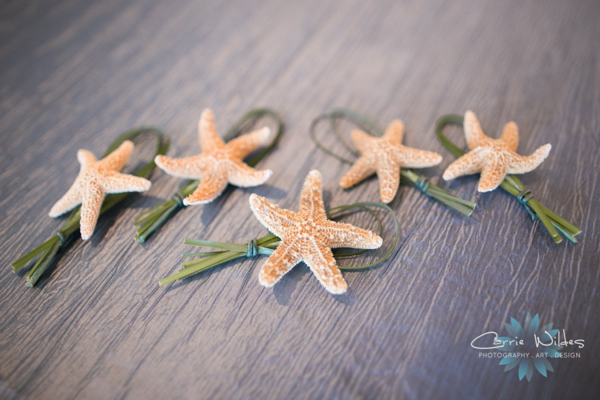 Starfish with Loop of Bear Grass Boutonniere