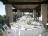 Sunset Terrace at Ritz Carlton Beach Club with Silver Footed Bowl Arrangements on Guest Tables