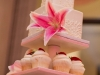Cupcake Tower with Pink Lilies