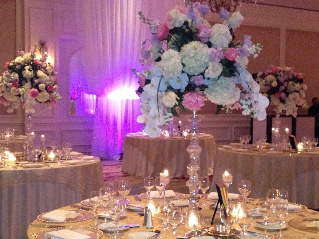 Elegant sarasota wedding at the ritz carlton sarasota wedding flowers gorgeous garden centerpieces on lead crystal pedestals junglespirit Images