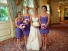 bridal party with pink and lavender flowers