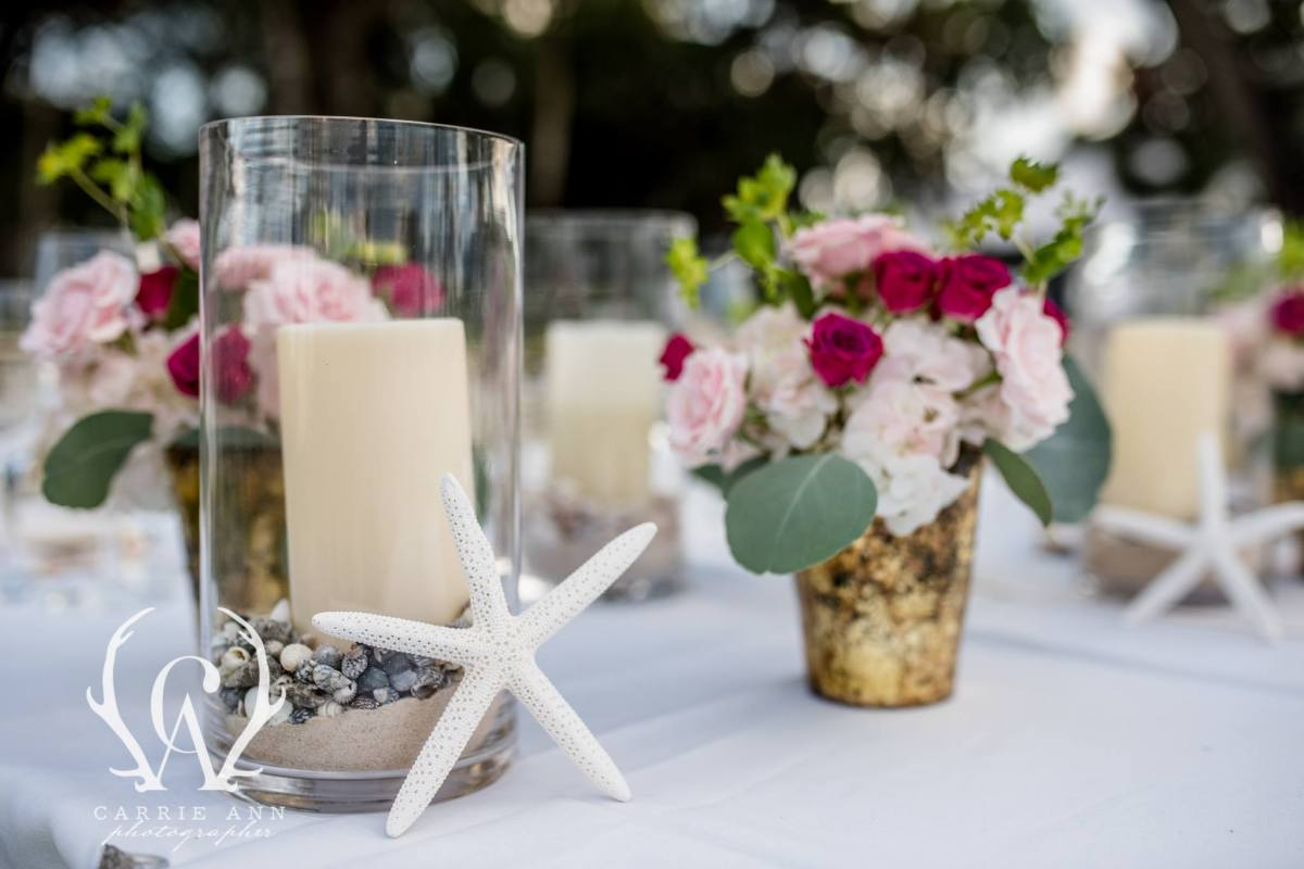 Close Up of Guest Table Centerpieces