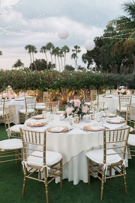 Reception Site with Floral Table Centerpieces