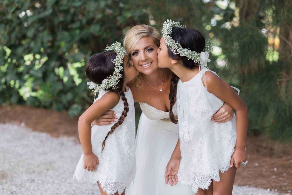 Flower Girls' Hair Wreath with Ribbons