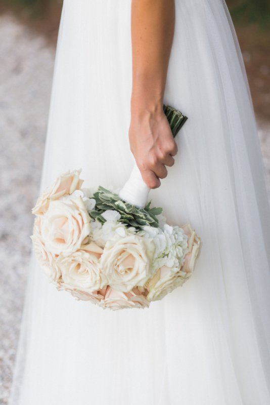 Hydrangea and Quicksand Roses Bride's Bouquet
