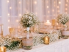 Head Table with Garland from Gazebo and Bridesmaids' Bouquets in Mason Jars