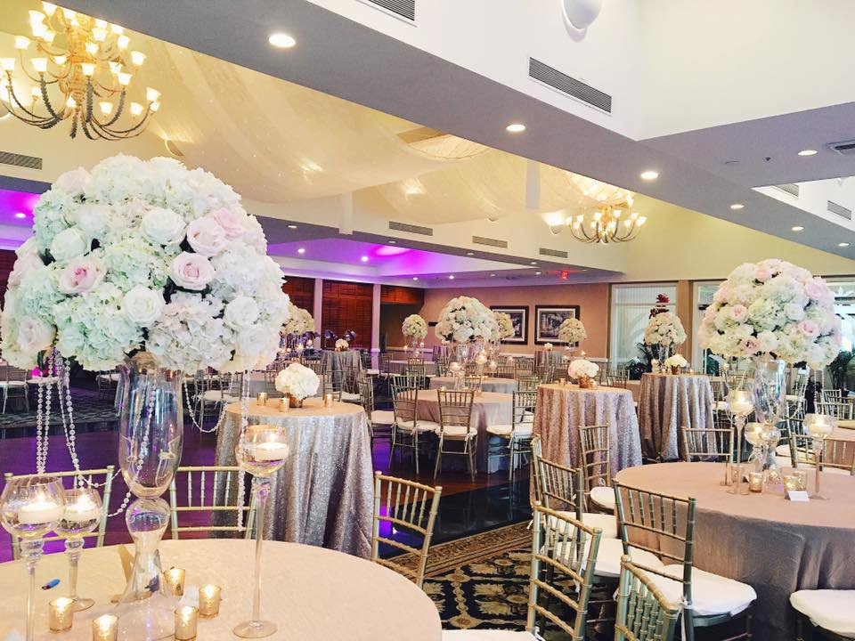 Harborside Ballroom with elevated arrangement with crystals and candles