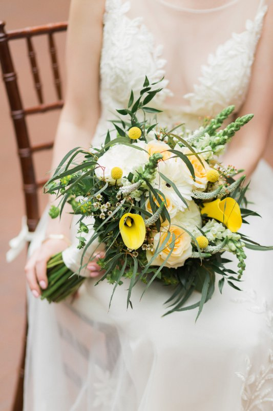 Bridal Bouquet with Cala lilies, Roses, and more
