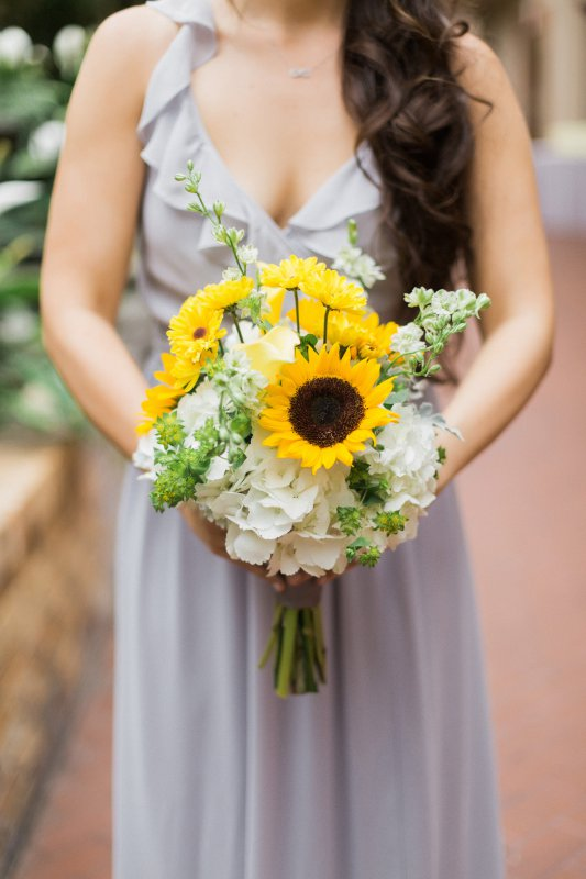 Garden Look Bridesmaids Bouquet with Sunflowers