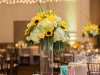 Elevated Table Centerpiece with sunflowers, roses, and hydrangea