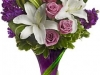 Indulge Her Bouquet with white lilies and purple roses