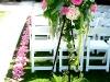 rose petal aisle and flower arrangement