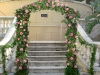 Garden arch of pink roses