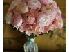 Bridal bouquet of pink rannuculus and hyrangea
