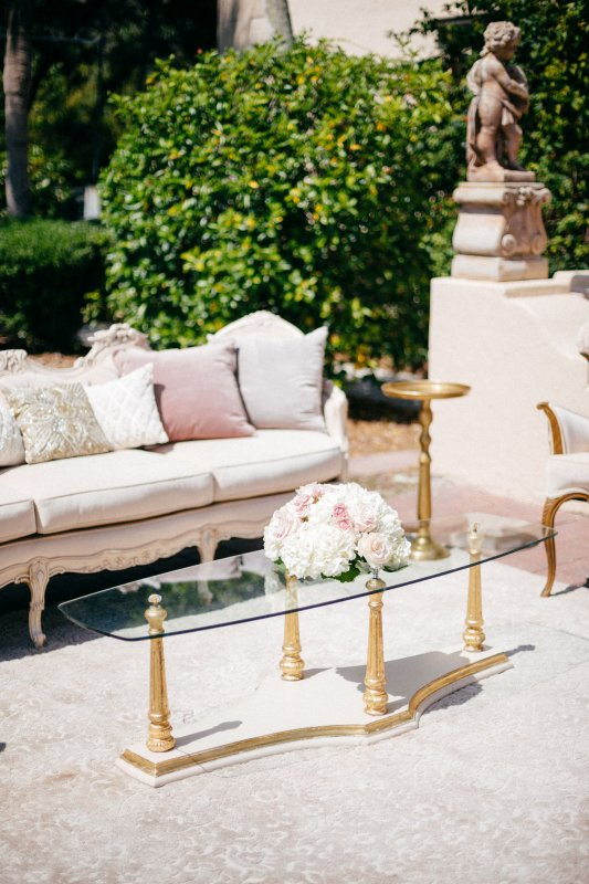 Coffee Table Arrangement featuring blush and cream flowers