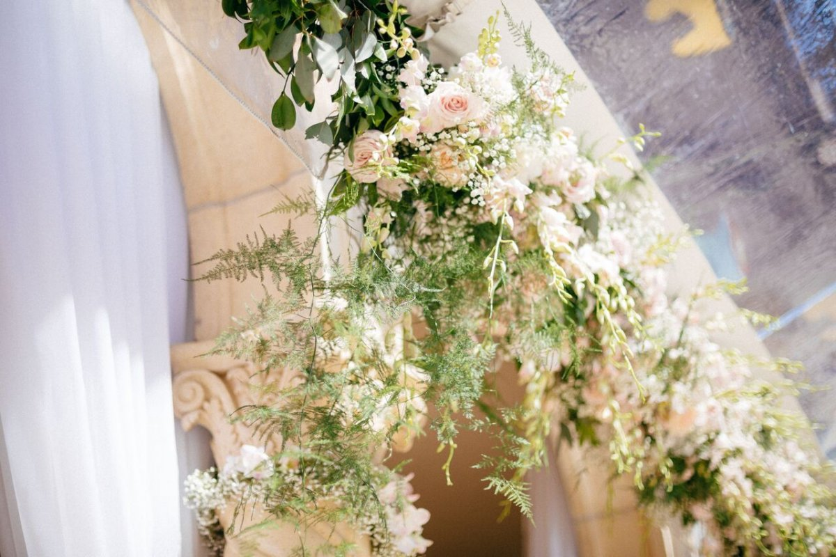 Close Up of Flowers and Garland for the Arch