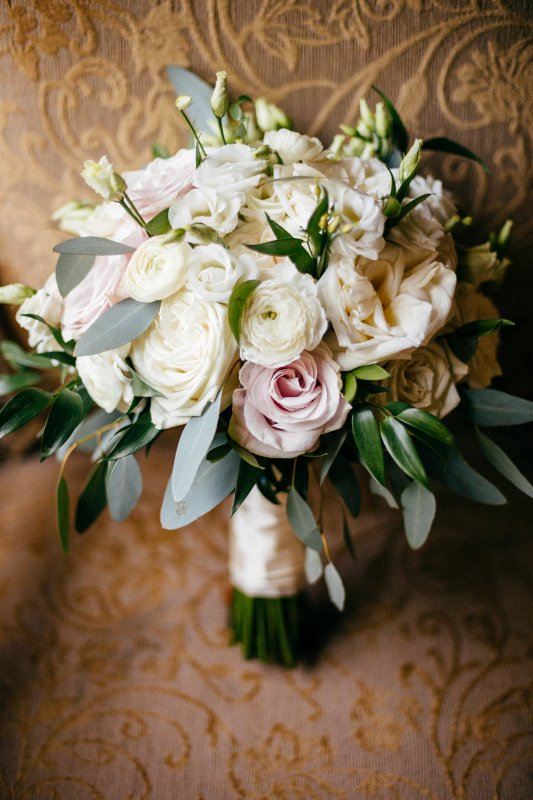 Gorgeous Garden Look Bouquet with Blush Roses, White O'hara Roses and Playa Blanca Roses, Ruscus, and Silver Dollar