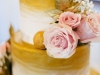 Wedding Cake with Pink Mondial Roses and Gold Lemon Leaves