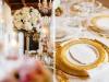 Elevated Guest Table Flower Arrangement on Gold Candelabra
