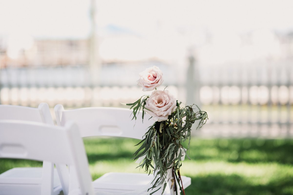 Blush Roses with Feather Eucalyptus on Chair