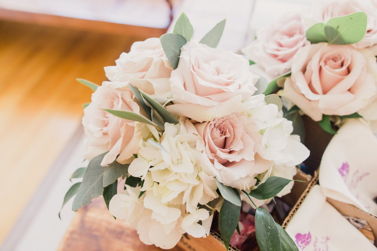 Bridesmaids Bouquets with Hydrangea, Blush Roses, Touch of Ruscus and Silver Dollar