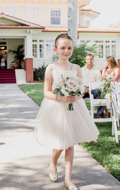 Jr Bridesmaid with Bouquet of Hydrangea, Quicksand roses, and Silver Dollar Eucalyptus