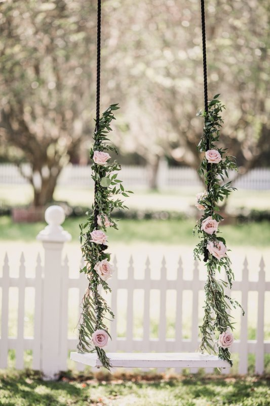 Swing at Palmetto Bed and Breakfast with Garland and Blush Roses