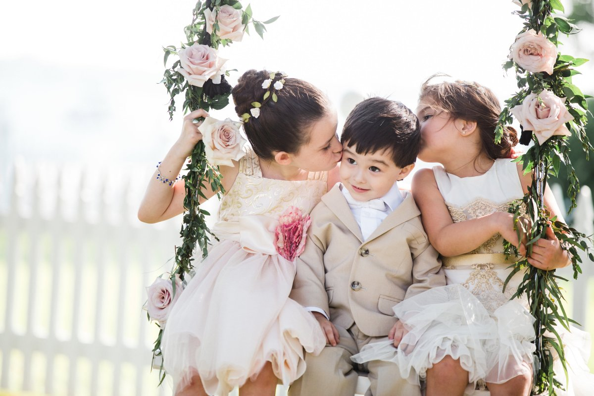 Swing with Flower Girls and Ring Bearer